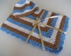 Manta em fio algodão Capuccino&azul