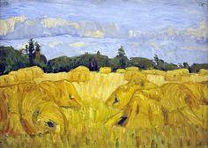 Feld mit Kornhocken von August Haake - August Haake (Maler) – Wikipedia