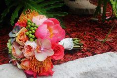 Coral bridal bouquet. Designed by F. Dellit Designs www.fdellit.com