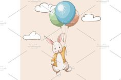 Cute rabbit flying with balloons by VectorMaster on @creativemarket