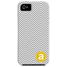 Skinny Chevron Monogrammed  iPhone 5 Case in Gray & Yellow