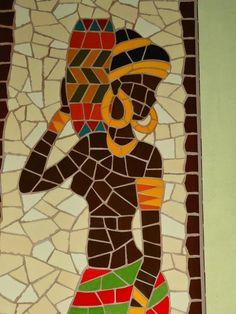 Quadro Africana. Mosaico feito com azulejos em base de MDF.