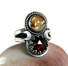 Gold Rutilate Quartz Bohmian Style Ring, Sterling Silver Crescent Moon Ring, Unique Jewelry, Black Silver Jewelry