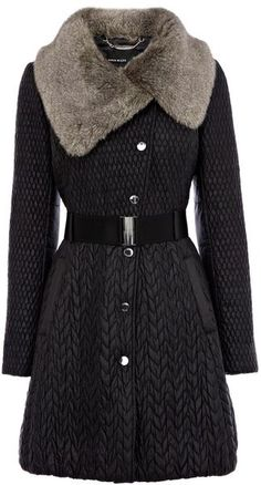 Karen Millen England Mixed Quilted Coat - Lyst