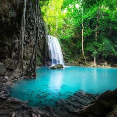 Like a lost paradise no?  The Erawan falls are located in Kanchanaburi Thailand and are said to be named after the three-headed elephant in Hindu mythology.  The top tier of the falls are supposed to resemble the elephant's head. Might take some squinting but I think it is beautiful anyway!  . . . . . #travelinspiration #erawanfalls #kanchanaburi #thailand #nationalpark #paradise #waterfall #tropicalwaterfall #erawannationalpark #hindumythology #secretplace #travelingram #amazingplanet…