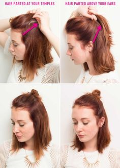 Rock an edgy or ladylike half bun look with these tips. Create an edgy look by parting hair at your temples (seen on the left), or create a more polished look by parting hair above your ears (seen on the right). Click through for the full instructions and more hair hacks!