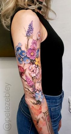 Arm Sleeve Tattoos For Women, Quarter Sleeve Tattoos, Best Sleeve Tattoos, Up Tattoos, Body Art Tattoos, Flower Tattoos, Floral Sleeve Tattoos, Colorful Sleeve Tattoos, Tatto Sleeve