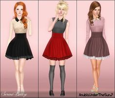 Anubis' s lovely collared dress for the Sims 3 Sims 3 Cc Clothes, Sims 4 Clothing, Female Clothing, Red Dress Casual, Casual Dresses, Dress Red, My Sims, Sims Cc, Sims 3 Mods