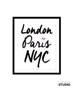 London Paris New York World Cities Print  Wall by lulusimonSTUDIO