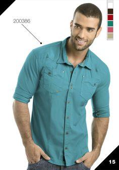 Ref: 200386 Ropa de moda para hombre / Mens fashion clothing Casual Shirts For Men, Men Casual, Boys Wear, Boys Shirts, Mens Clothing Styles, Sexy Men, Menswear, Tunic, Polo