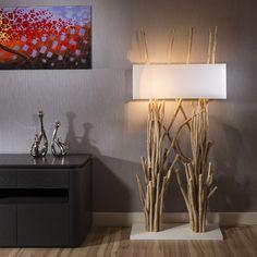 Beautiful tall Modern Designer driftwood Floor Lamp/Light white 185cm