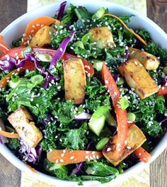 Asian Kale & Tofu Salad - Clean Eating - Clean Eating *good..next time I would like to marinate tofu