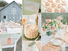 peach and green wedding inspiration