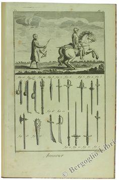 Diderot & D'Alembert. ENCYCLOPEDIE tavole tratte dall'atlante dall'edizione parigina del 1755 dell'ENCYCLOPEDIE relative a: ARMURIER, ARQUEBUSIER, FOURBISSEUR, ART MILITAIRE...  (da Bergoglio Libri d'Epoca)