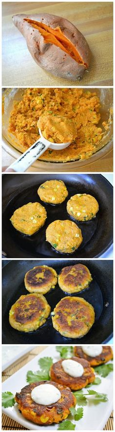 "Sweet Potato Corn Cakes with Garlic Dipping Sauce-Gonna make this happen. Flashbacks to ""Sugar Busters"" -fine tuned! Very sweet potato corn cake dish. Wishing there were a healthy place to eat out. Veggie Dishes, Veggie Recipes, Yummy Recipes, Vegetarian Recipes, Healthy Dinner Recipes, Cooking Recipes, Side Dishes, Recipies, Clean Recipes"