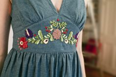 Faraway Garden embroidery on the waistband of the Giselle dress Garden Embroidery, Folk Embroidery, Embroidery Patterns, Machine Embroidery, Learn Embroidery, Antique Quilts, Traditional Looks, Peasant Blouse, Going Out