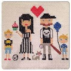 Custom cross stitch family portraits. Canadian artist www.facebook.com/stitchesandsprinkles