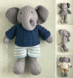 Knitting pattern for elephant toy and more wild animal knitting patterns