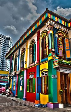 The urban landscape always needs more colour! Colorful Building in Little India, Singapore