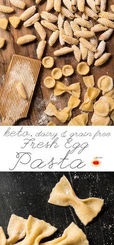 Fresh Egg Grain Free & Keto Pasta - dough (almond flour, coconut flour, xanthan gum, kosher salt, ACV, egg, water), butter (for cooking; would reduce), olive oil (for cooking, would reduce), garlic cloves (optional)