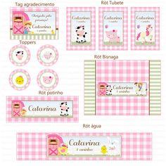Kit Digital Fazendinha Rosa e Verde para menina - Charme Papeteria