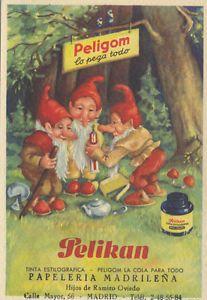 Papel secante. Publicidad de Pelikan y Peligom: tinta estilogáfica y cola. | eBay