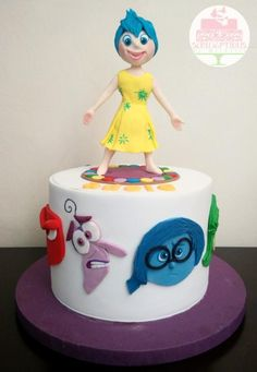 Inside Out cake with Joy topper by Michelle Chan