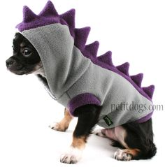 Dog Costume Dinosaur Spikes Grey fleece dog Hoodie by PetitDogApparel on Etsy Small Dog Clothes, Puppy Clothes, Costume Dinosaure, Dog Clothes Patterns, Pet Fashion, Pet Costumes, Halloween Costumes, Dog Hoodie, Dog Sweaters