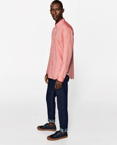 Image 2 of CONTRASTING OXFORD SHIRT from Zara