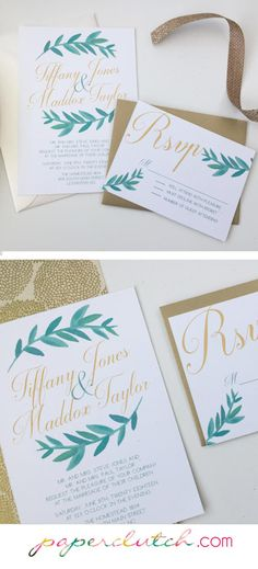 Watercolor Leaf Wedding Invitations  Green by PaperclutchShop