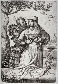 Title: Man embracing a Woman              Tags: Hat, Landsknecht, Trossfrau, Neckchain, Dagger, Brocade              Date: 1546                        Artist: Daniel Hopfer              Provenance: Germany              Collection: The Cleveland Museum of Art