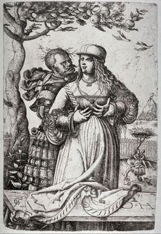 Title: Man embracing a Woman              Tags: Hat, Landsknecht, Trossfrau, Neckchain, Dagger, Brocade              Date: 1546                        Artist: Daniel Hopfer              Provenance: Germany              Collection: The Cleveland Museum of Art