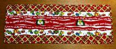 """Christmas themed table runner reversible 12"""" x 32"""""""