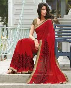 Red Color Chiffon Casual Wear Sarees : Tanvi Collection YF-24717