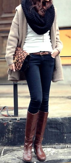 Comfy and stylish fall fashion.  |  Tan long cardigan + black infinity scarf + brown riding boots + leopard clutch!