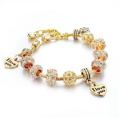 Heart 3x I Love You Golden Charm Bracelet w/ Crystal Beads