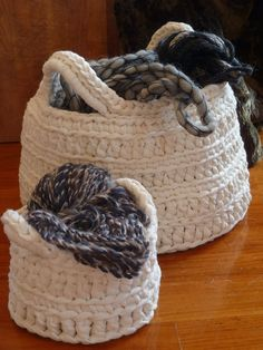 Baskets of wool tape