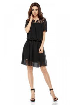 Rochie cu elastic in talie si dantela, neagra - Rochii - Rochii de primavara-vara Cold Shoulder Dress, Mai, Floral, Casual, Black, Dresses, Fashion, Vestidos, Moda