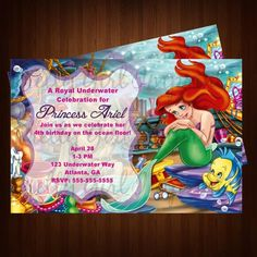 Little Mermaid- Princess Ariel Birthday Party Invitation ONLY $12.00 printable-party-invitations-decor