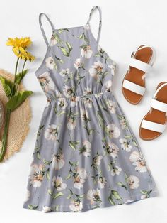 Floral Cut Out Bow Tie Open Back Cami DressFor Women-romwe Cute Girl Outfits, Girly Outfits, Cute Casual Outfits, Pretty Outfits, Dress Outfits, Casual Dresses, Girls Fashion Clothes, Teen Fashion Outfits, Cute Fashion
