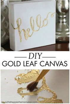 This DIY gold leaf canvas tutorial will teach you how to easily create a gorgeous piece of wall art. The metallic accent is perfect for decorating a modern home.