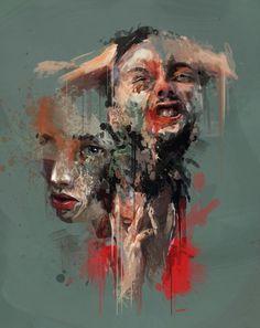 """Portraits of pain. Portrait Art, Portraits, Abstract Portrait, Painting Inspiration, Art Inspo, Gcse Art Sketchbook, Psy Art, Identity Art, A Level Art"