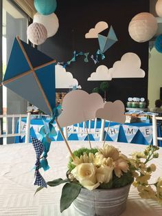 appetizers for party Baby Shower Parties, Baby Boy Shower, Ideas Bautismo, Kite Decoration, Kite Party, Decoracion Baby Shower Niña, Babyshower Party, Shower Bebe, Birthday Background