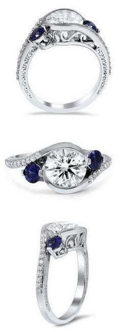 http://rubies.work/0531-sapphire-ring/ Sapphire & Diamond Ring ❤︎