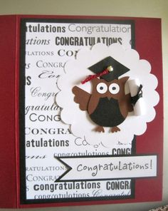 Stampin' Up Owl Punch Graduation Card by CraftyPawsbyTrisha, $3.00