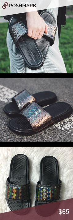 Women's Nike Benassi Slides Prm Brand new with the box but no lid. Nike HQ samples. Sold out slides! Nike Shoes Sandals