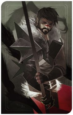 Hawke - Here Lies the Abyss by TheMinttu tarot card knight fighter paladin soldier armor clothes clothing fashion player character npc | Create your own roleplaying game material w/ RPG Bard: www.rpgbard.com | Writing inspiration for Dungeons and Dragons DND D&D Pathfinder PFRPG Warhammer 40k Star Wars Shadowrun Call of Cthulhu Lord of the Rings LoTR + d20 fantasy science fiction scifi horror design | Not Trusty Sword art: click artwork for source