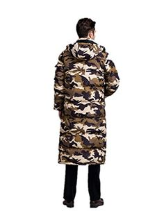 Newdeve Men's Winter Warm Knee Length Camouflage Yellow Down Coat