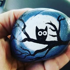 Owl silhouette in a tree painted rock. Artist-JLB (Jennifer Ball)