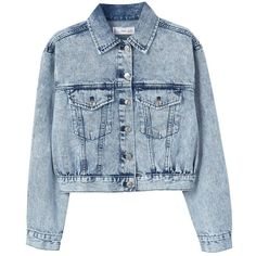 Bleached Denim Jacket (84 AUD) ❤ liked on Polyvore featuring outerwear, jackets, mango, long sleeve jacket, bleach jacket, collar jacket, mango jackets and bleached denim jacket